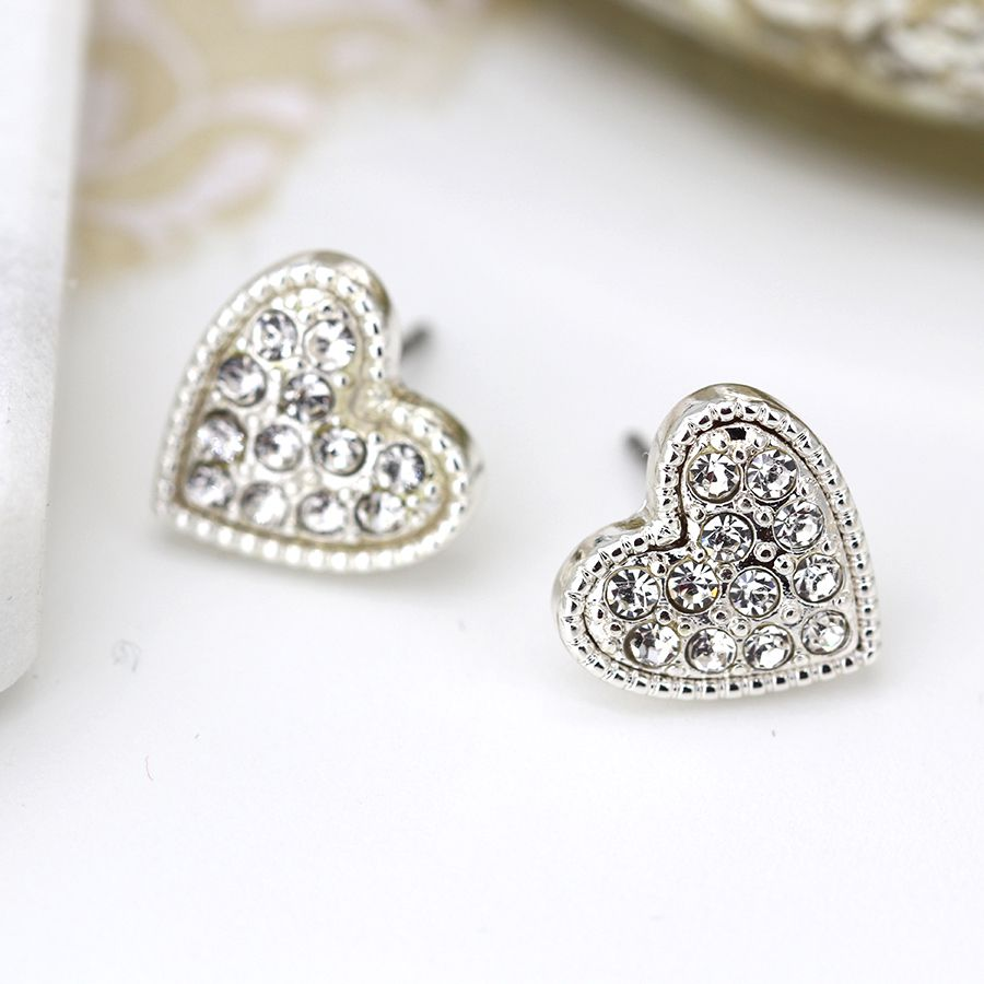 Silver plated earrings with crystal inset heart