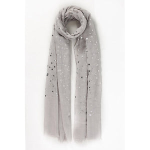 Silver Scattered Stars Grey Scarf
