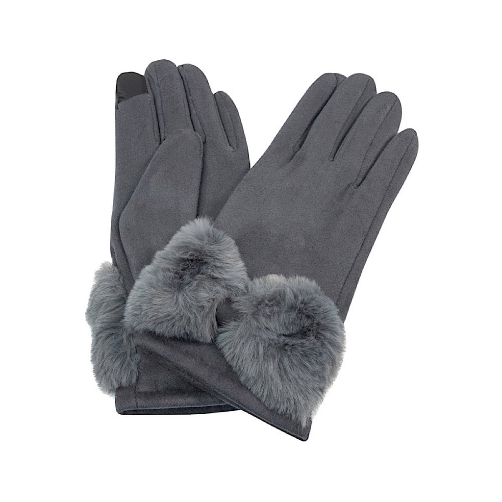 Grey Gloves With Fake Fur Bow