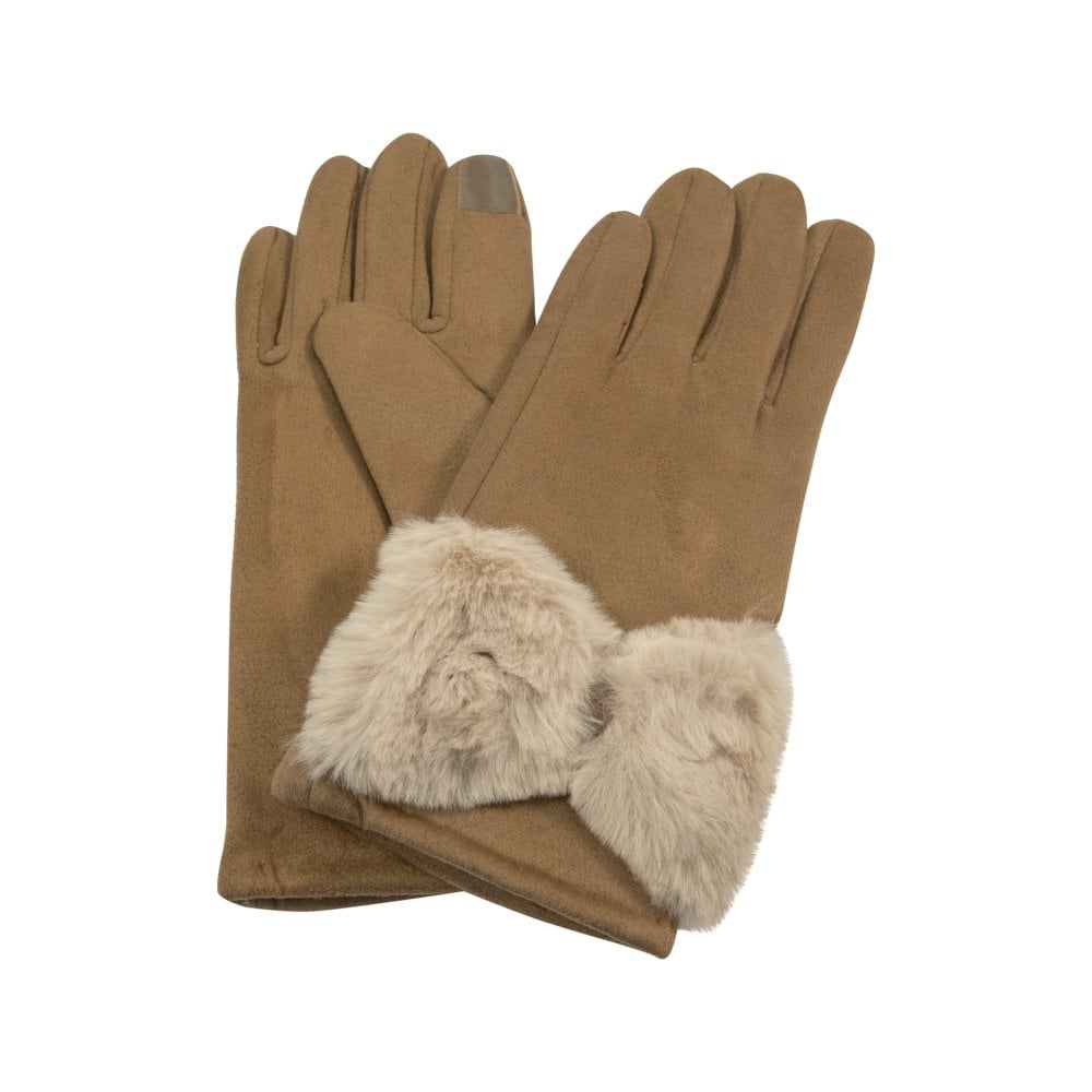 Taupe Gloves With Fake Fur Bow