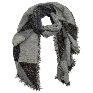 Grey & Black Sequin Blanket Scarf