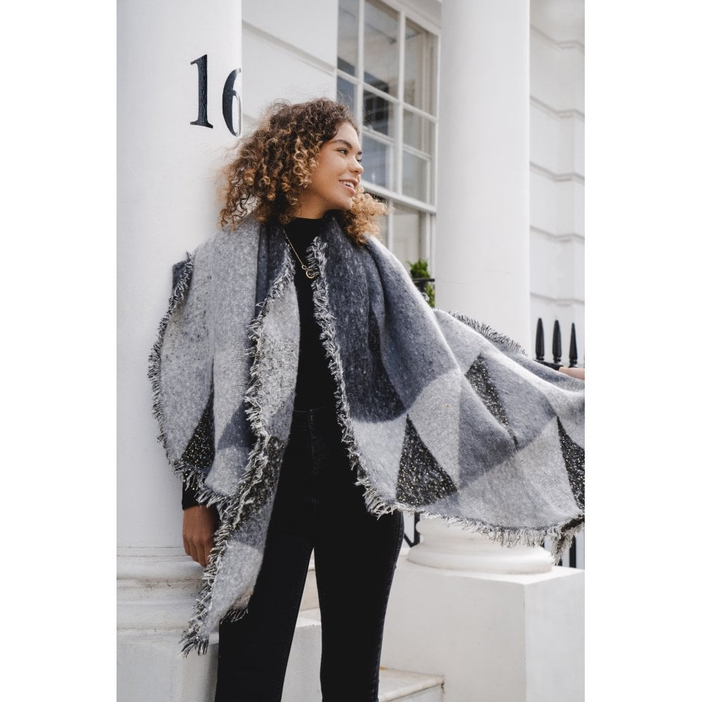 Grey & Black Geo Blanket Scarf