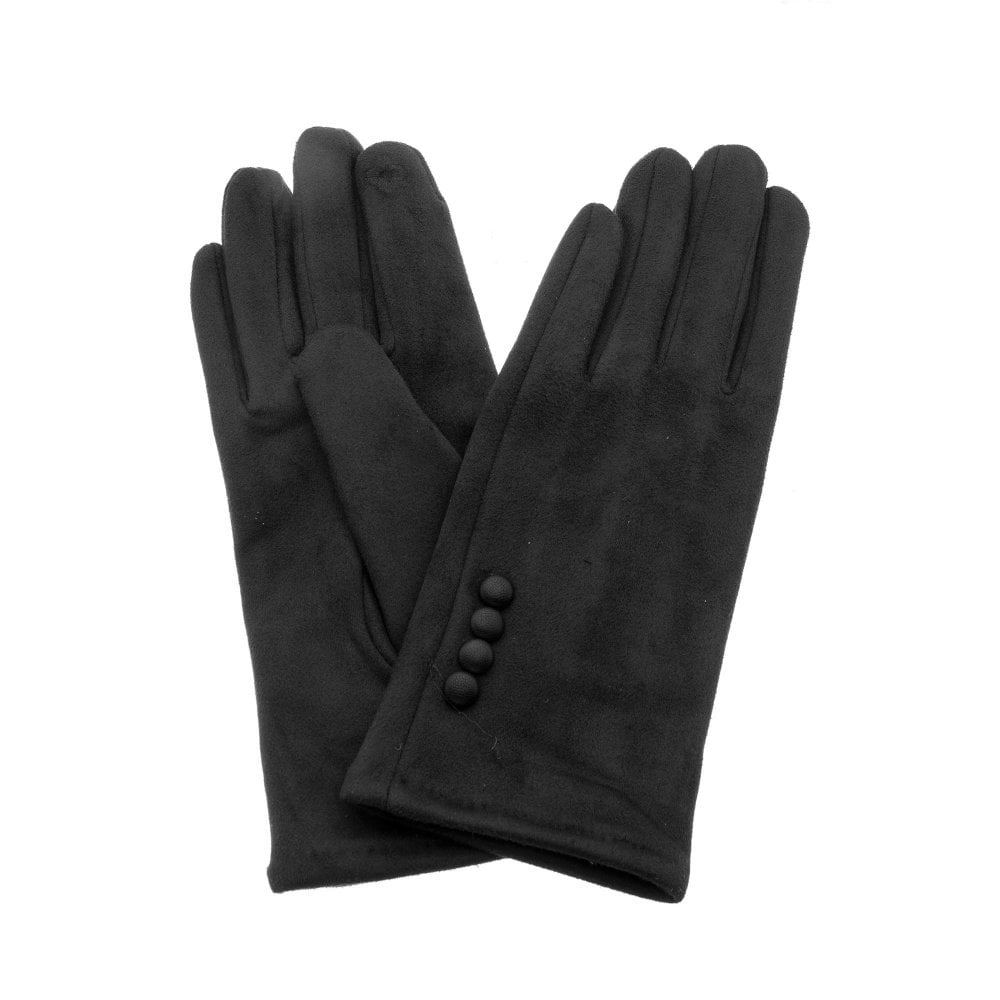 Black Button Detail Gloves