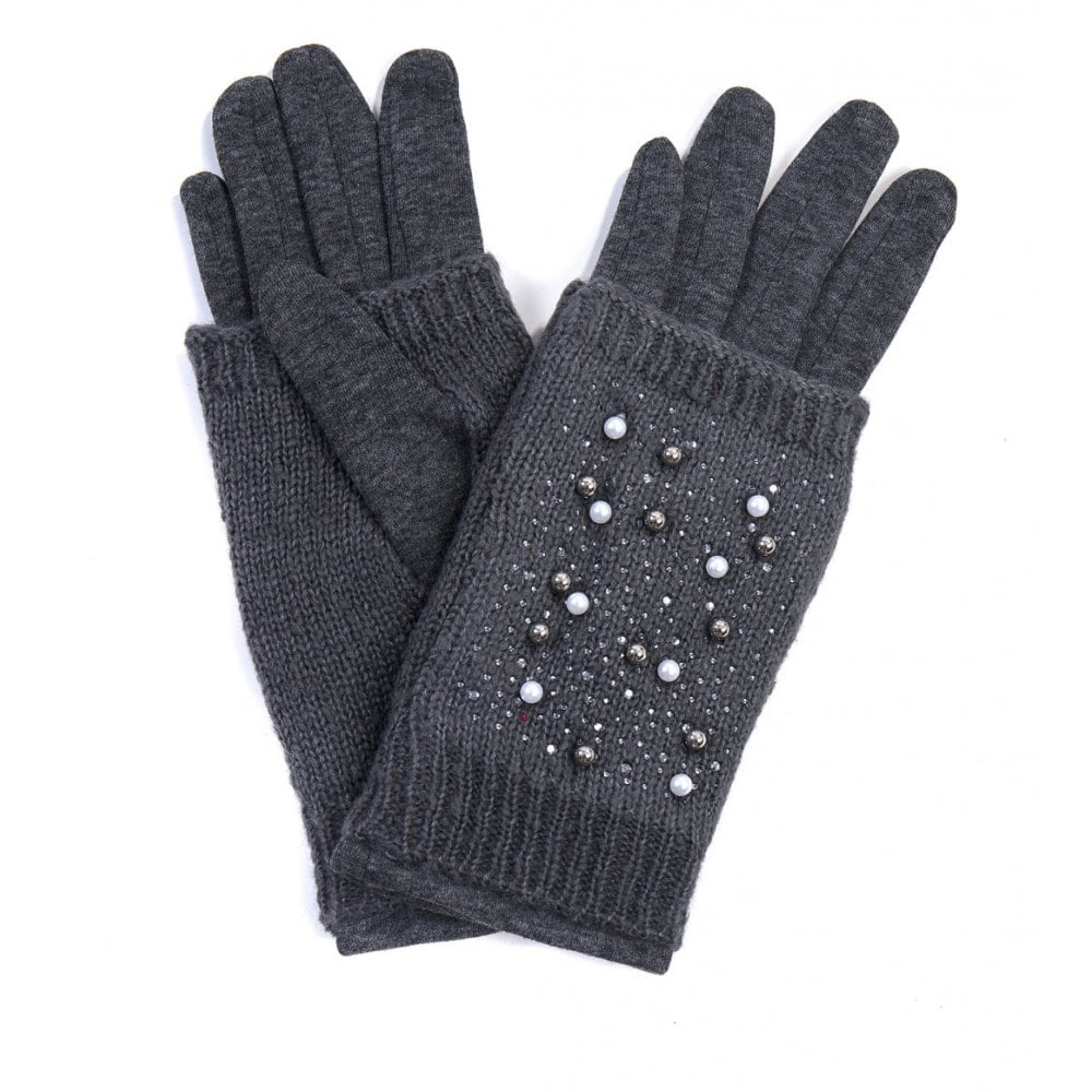 Dark Grey Gloves With Wrist Warmers