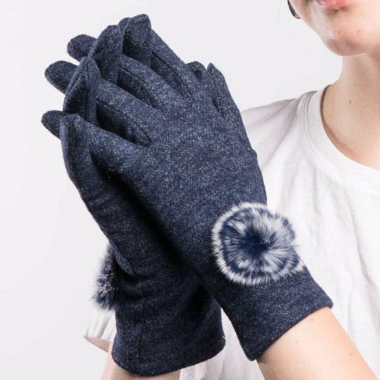 Navy Gloves with Pom Pom Detail