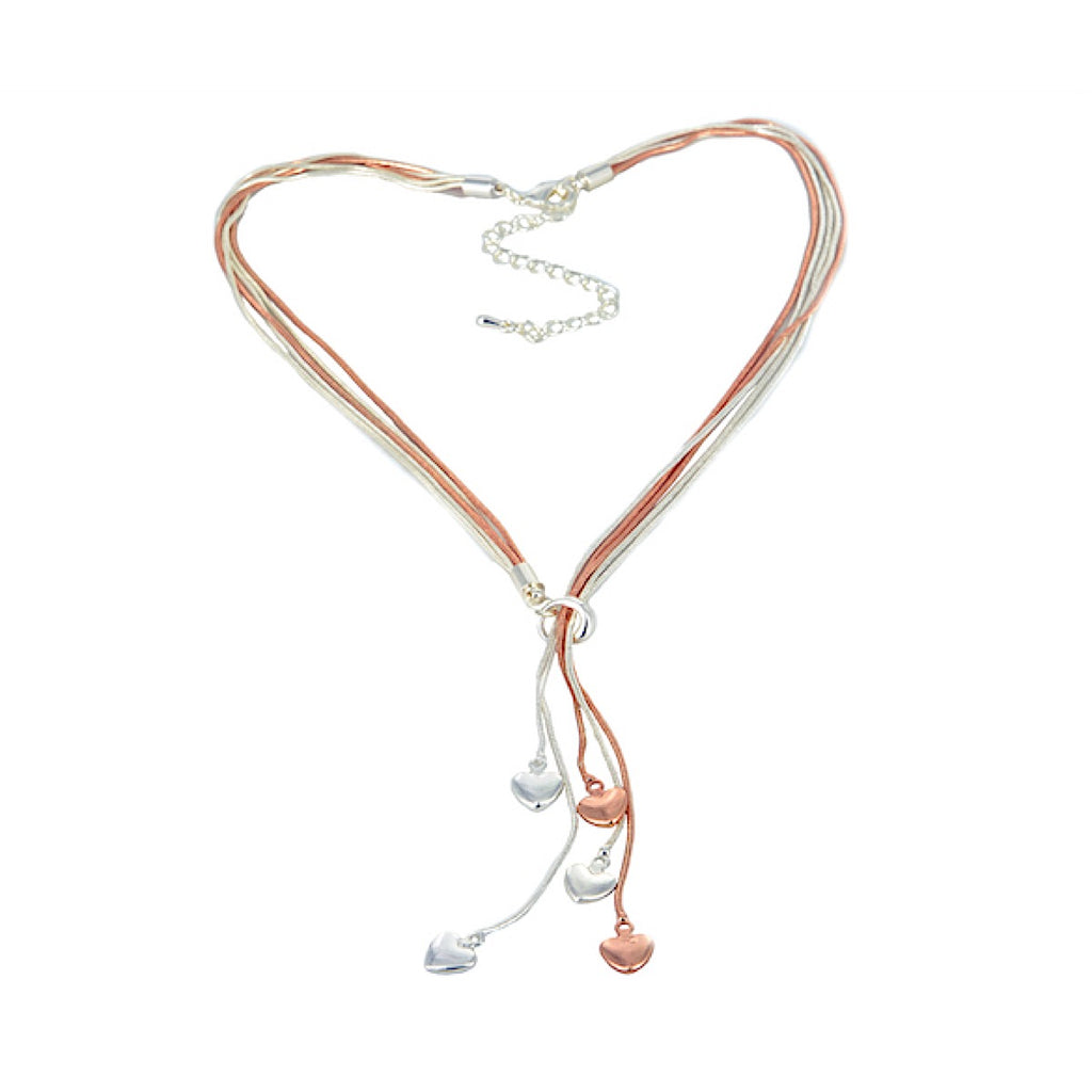 Heart Drops Multi Strand Necklace Rose Gold / Silver
