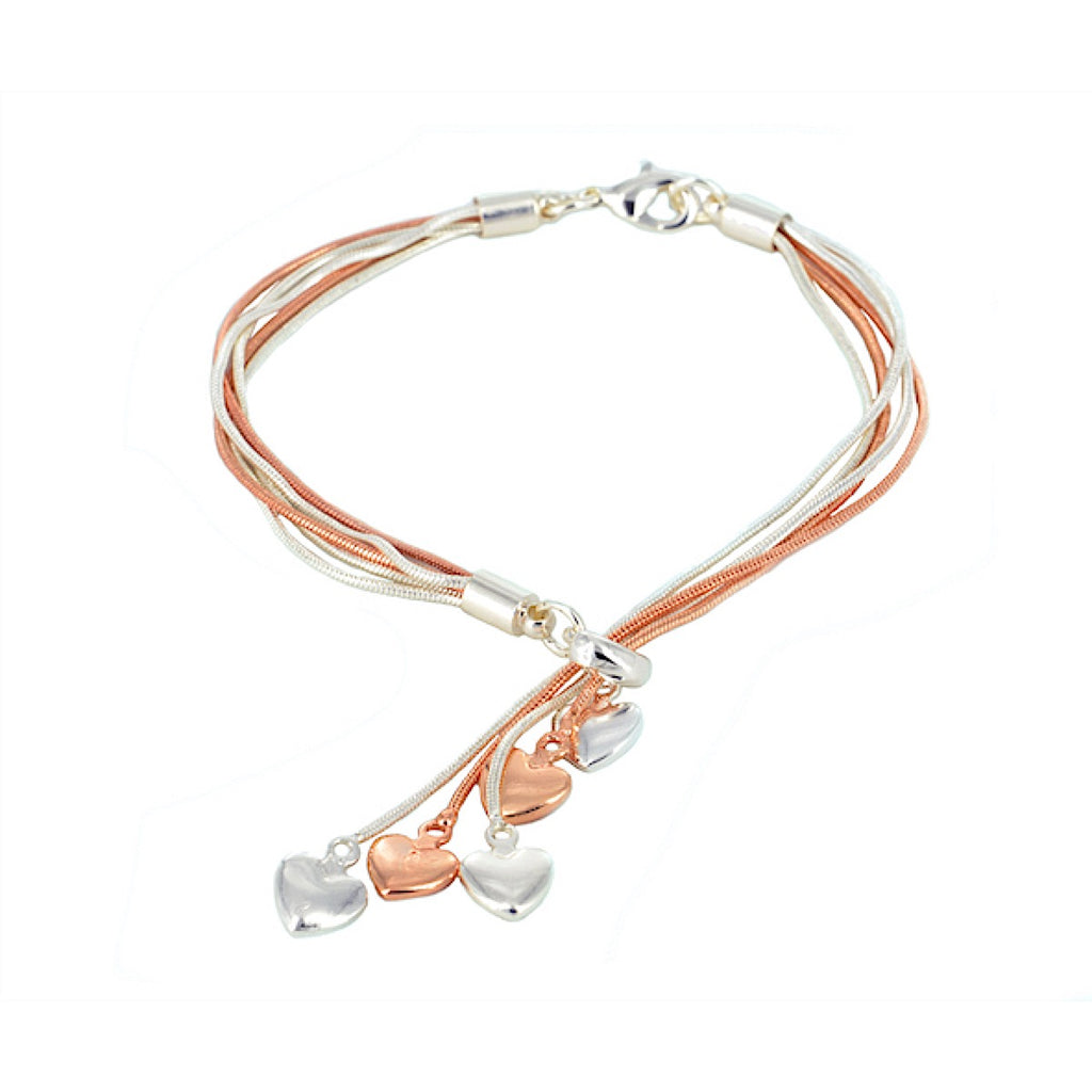 Heart Drops Multi Strand Bracelet Rose Gold / Silver