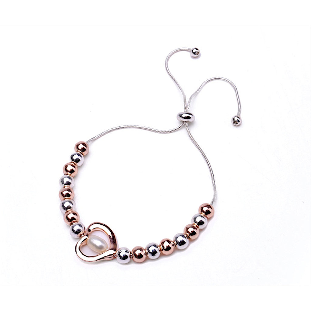 Heart Fresh Water Pearl Adjustable Bracelet - Rose Gold