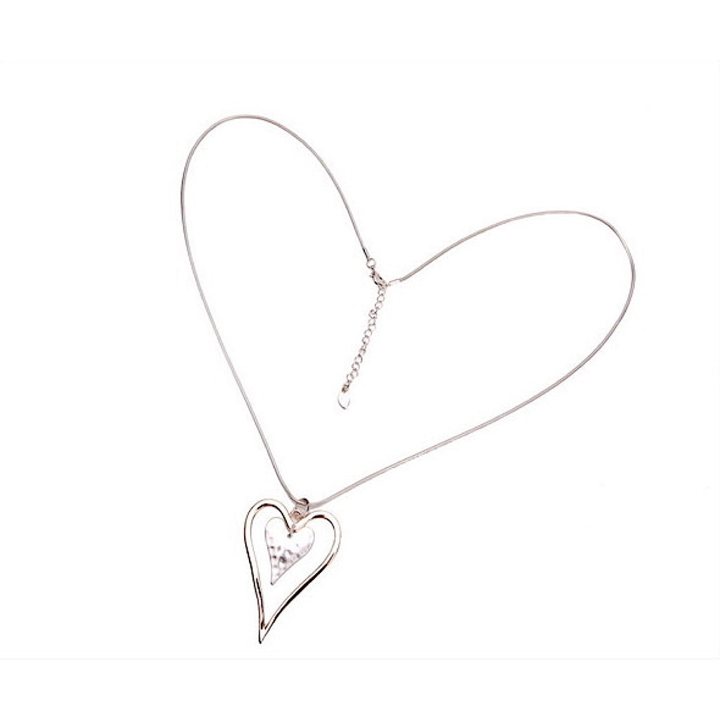Heart Pendant Long With Silver & Rose Gold Hearts