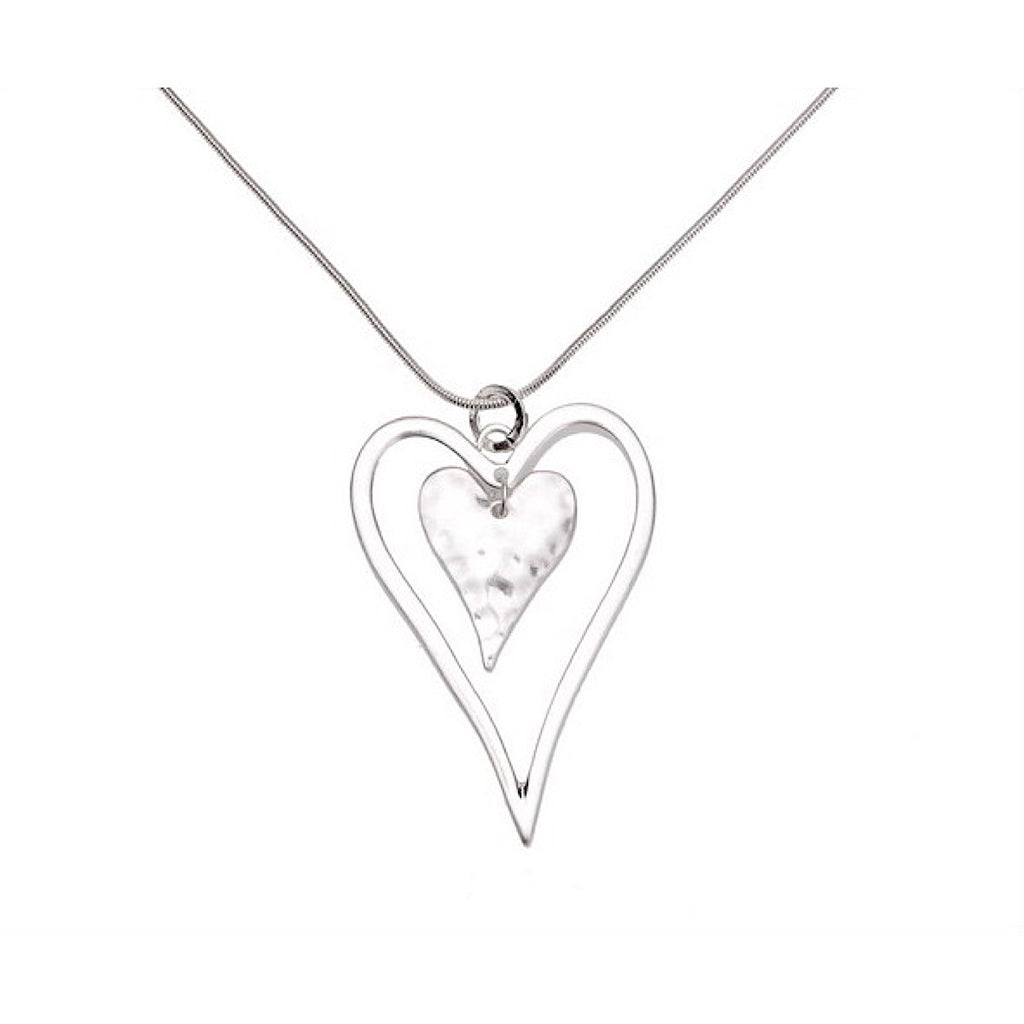 Long Double Silver Heart Pendant