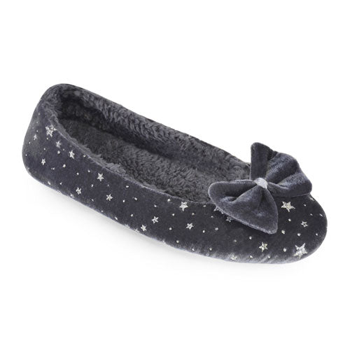 Star Print Grey Ballet Slippers