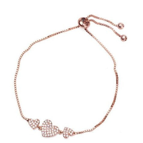 Zircon Adjustable Triple Hearts Bracelet - Rose Gold