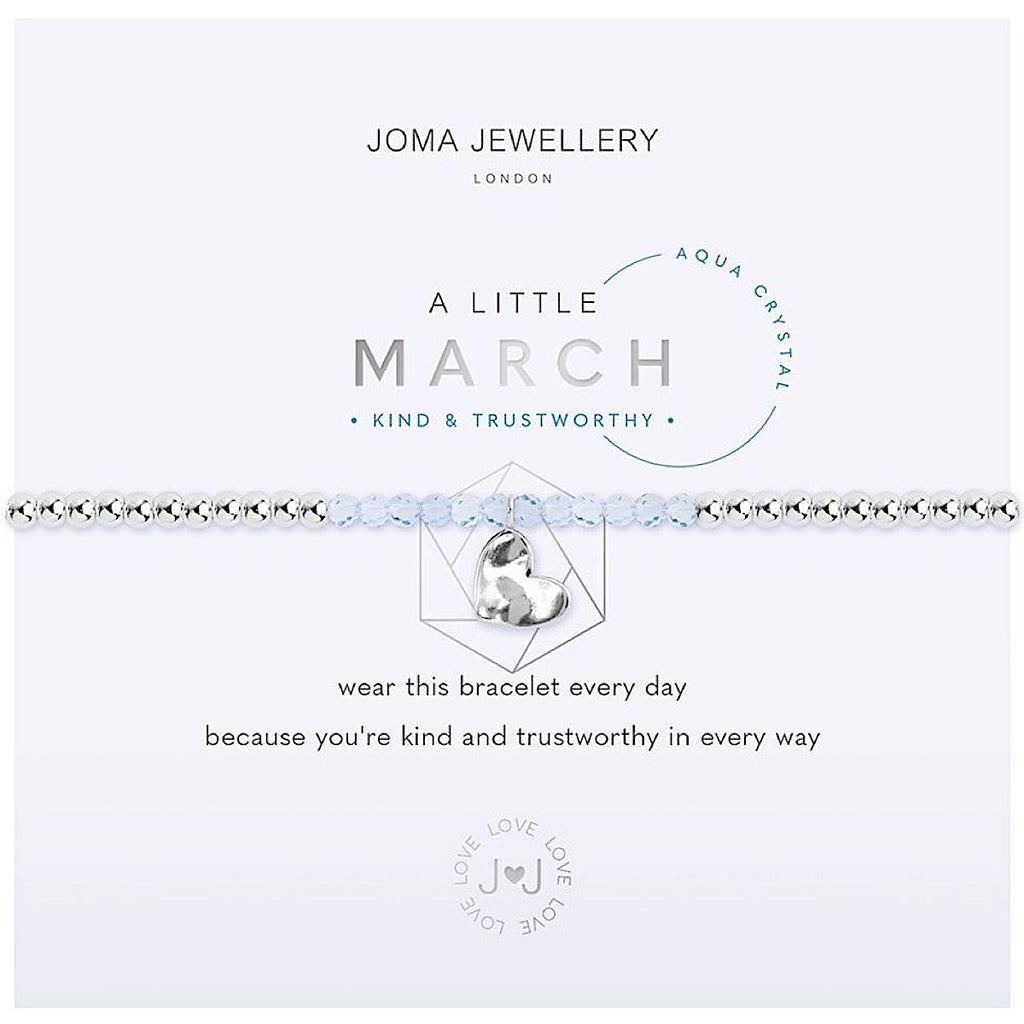 Joma a little March Birthstone Bracelet - aqua crystal | More Than Just A Gift