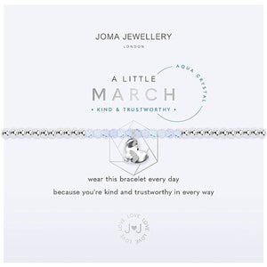 Joma a little March Birthstone Bracelet - aqua crystal