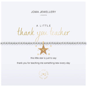 Joma a little Thank You Teacher Bracelet - star