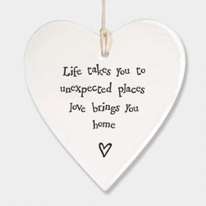 East Of India Porcelain Round Heart-Love Brings You Home