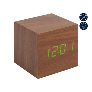 Hometime Square Oak LED Alarm Clock