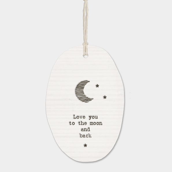 East Of India Porcelain Hanger - Love You To the Moon And Back
