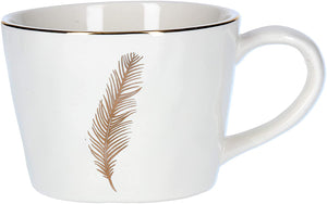 Artisan Ceramic Mug With Feather White