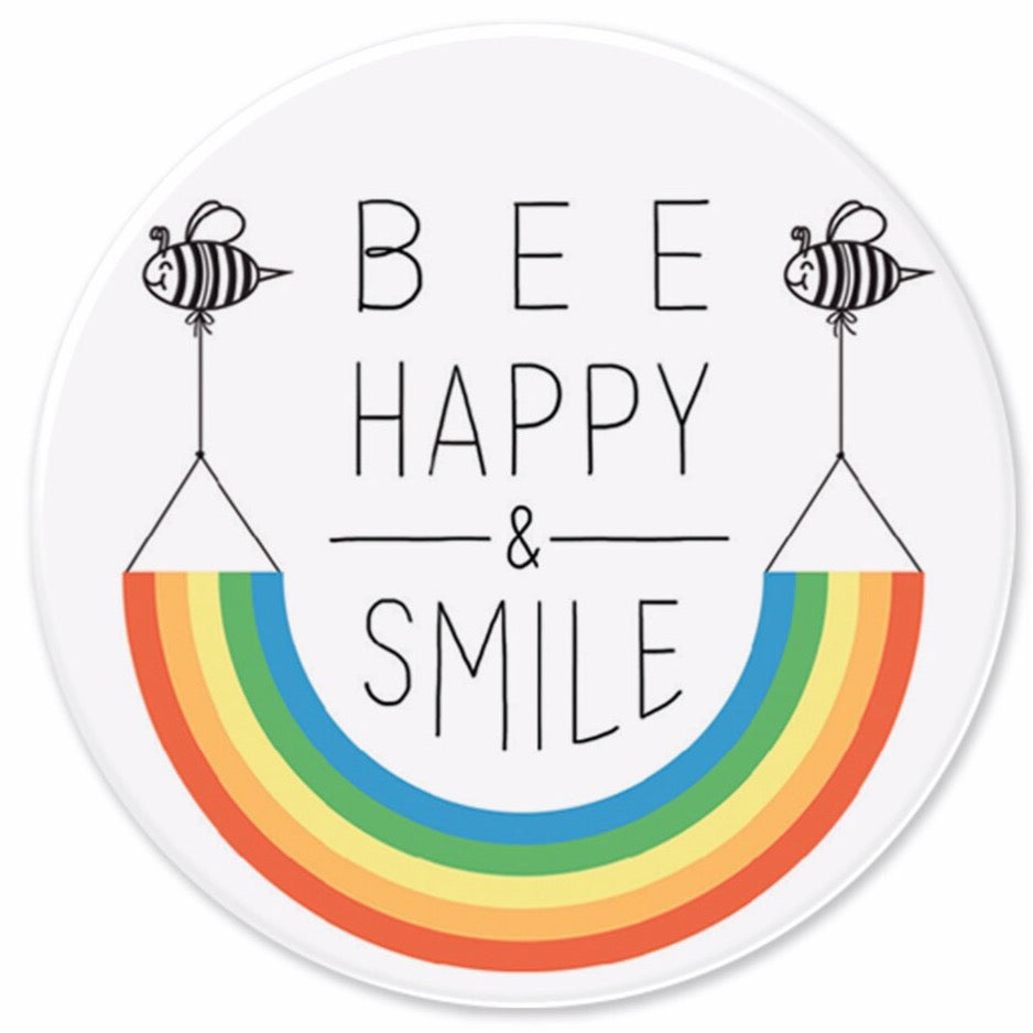 Bee Happy & Smile Badge | Brain Box Candy at More Than Just a Gift