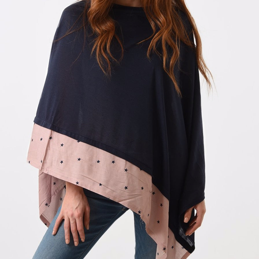 Navy Poncho with Pink Border