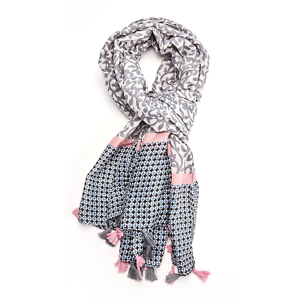 Grey & Pink Tassel Leaves Scarf