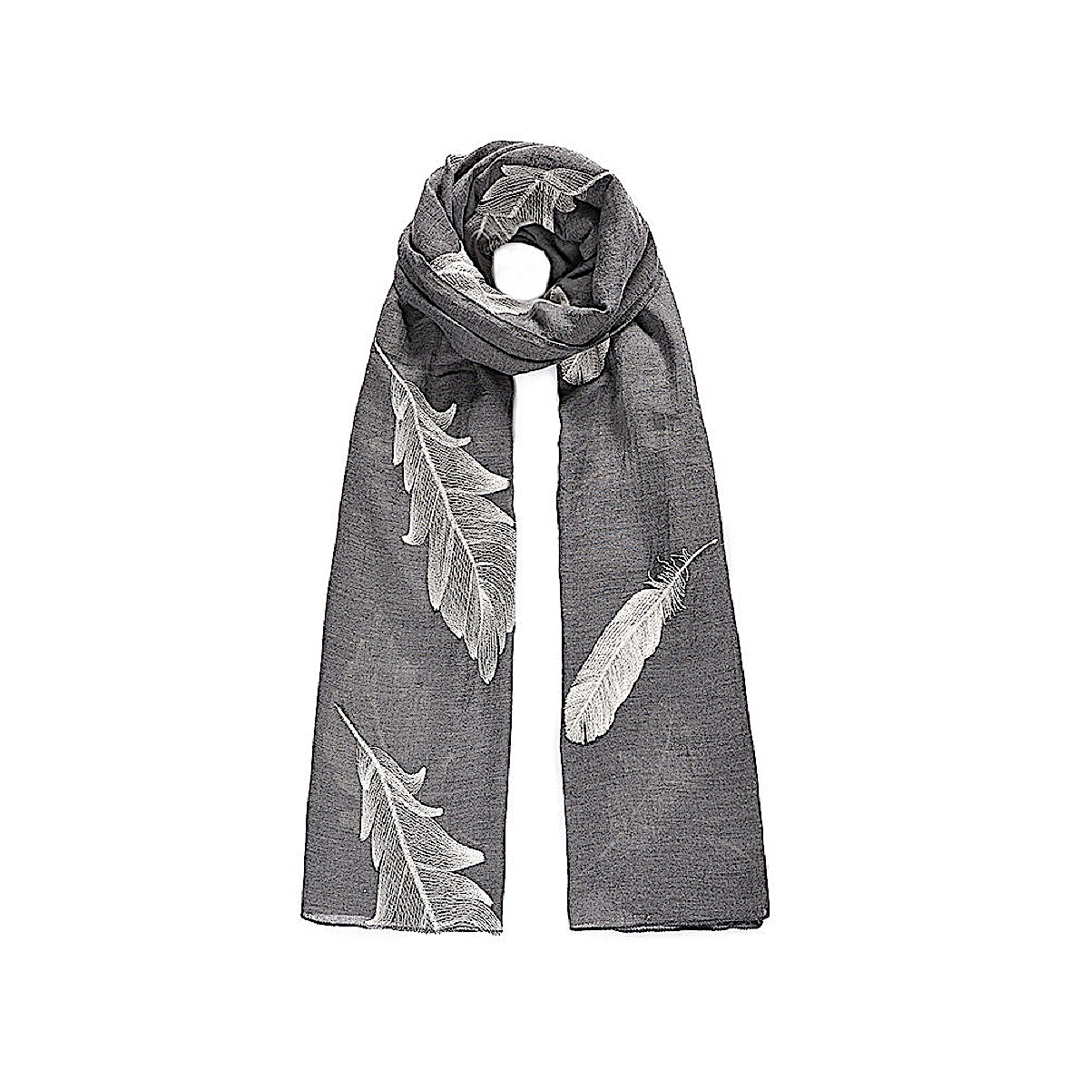 Grey Embroidered Feather Scarf