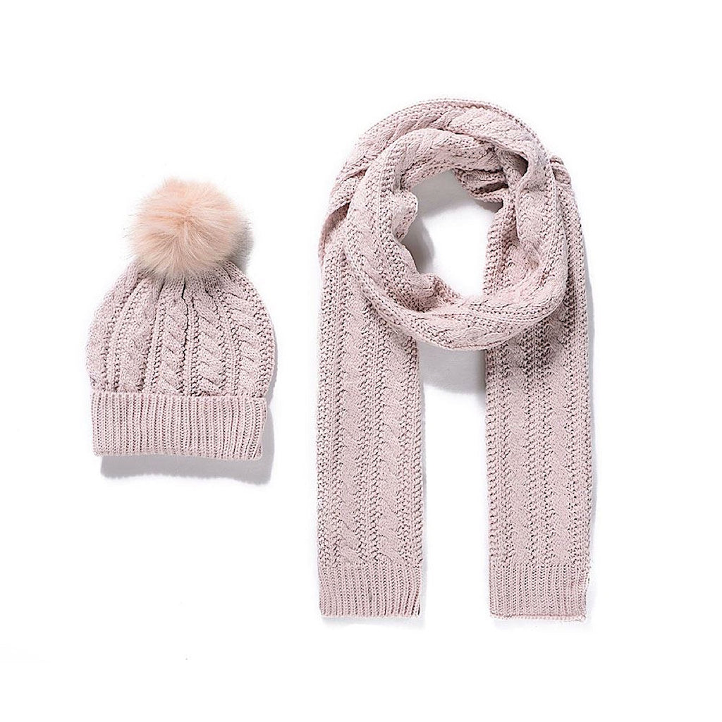 Pink Knitted Bobble Hat and Scarf Set