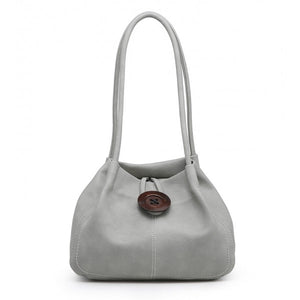Slouch Handbag With Decorative Button Detail - Grey