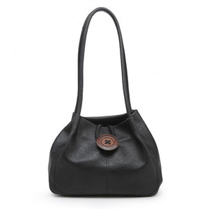 Slouch Handbag With Decorative Button - Black