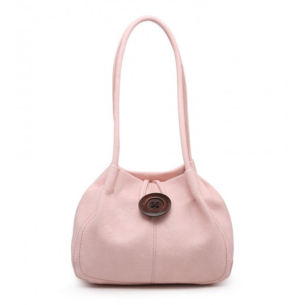 Slouch Handbag With Decorative Button - Pink