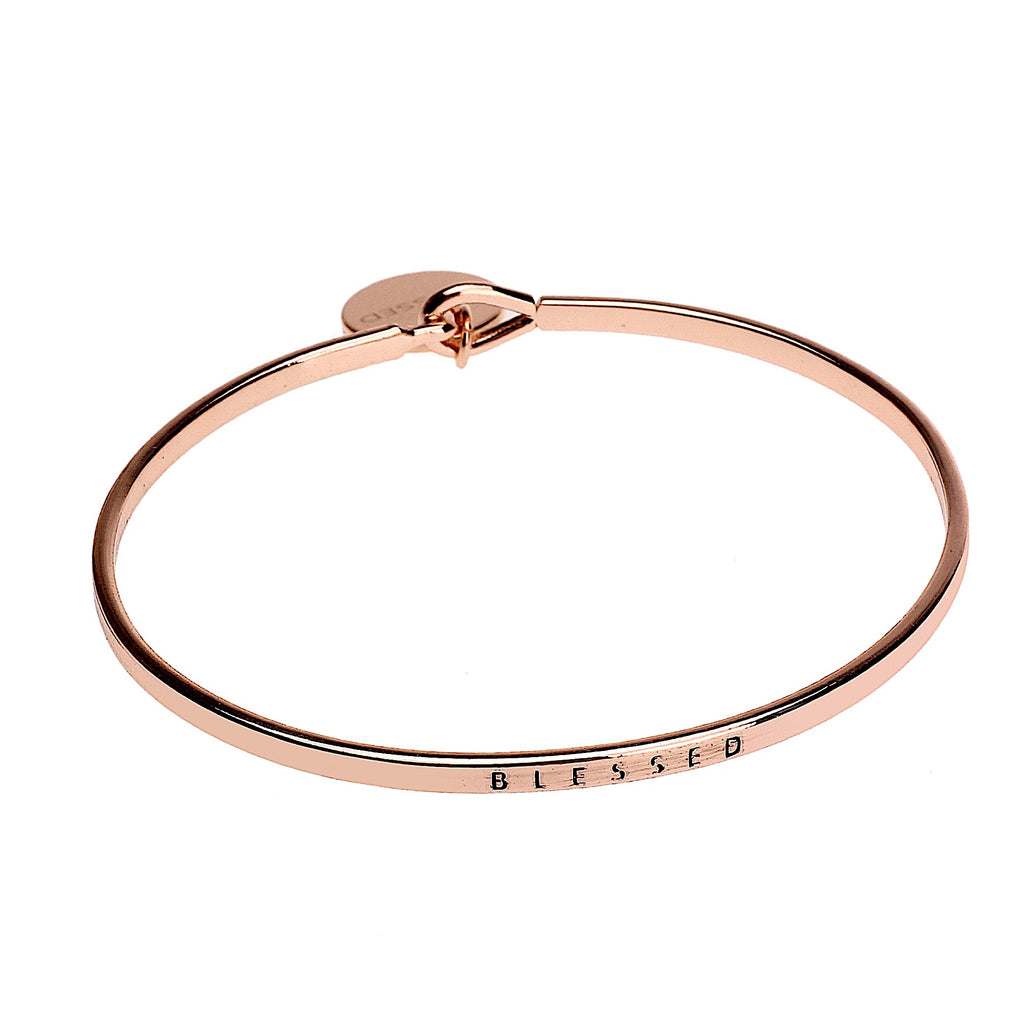 Blessed Sentiment Disc Copper Bangle - Rose Gold | More Than Just at Gift | Narborough Hall