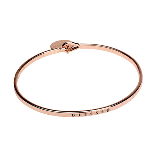 Blessed Sentiment Disc Copper Bangle - Rose Gold