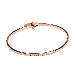 Never Give Up Sentiment Disc Copper Bangle - Rose Gold