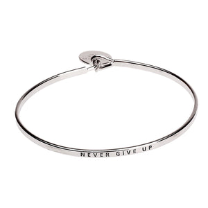 Never Give Up Sentiment Disc Copper Bangle - Silver | More Than Just at Gift | Narborough Hall