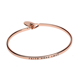 Hope Faith Love Sentiment Disc Copper Bangle - Rose Gold