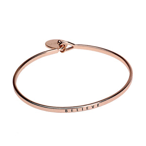 Believe Sentiment Disc Copper Bangle - Rose Gold