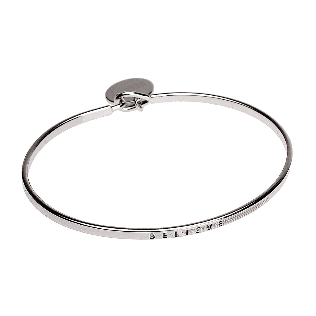 Believe Sentiment Disc Copper Bangle - Silver | More Than Just at Gift | Narborough Hall