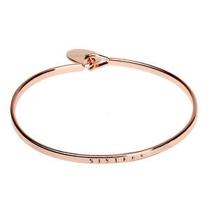 Sister Sentiment Disc Copper Bangle - Rose Gold