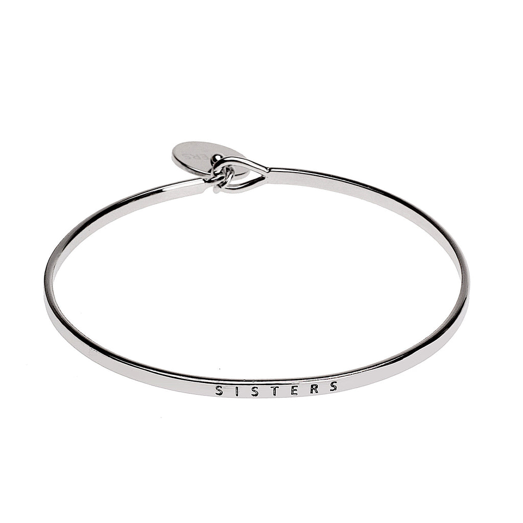 Sister Sentiment Disc Copper Bangle - Silver | More Than Just at Gift | Narborough Hall