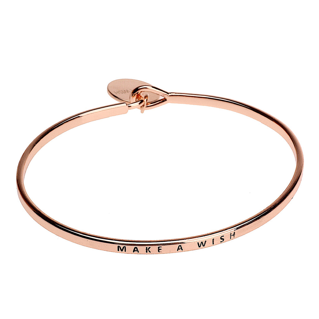 Make a Wish Sentiment Disc Bangle - Rose Gold - Narborough Hall