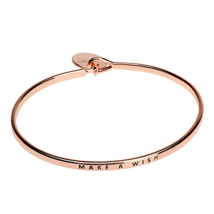 Make a Wish Sentiment Disc Bangle - Rose Gold