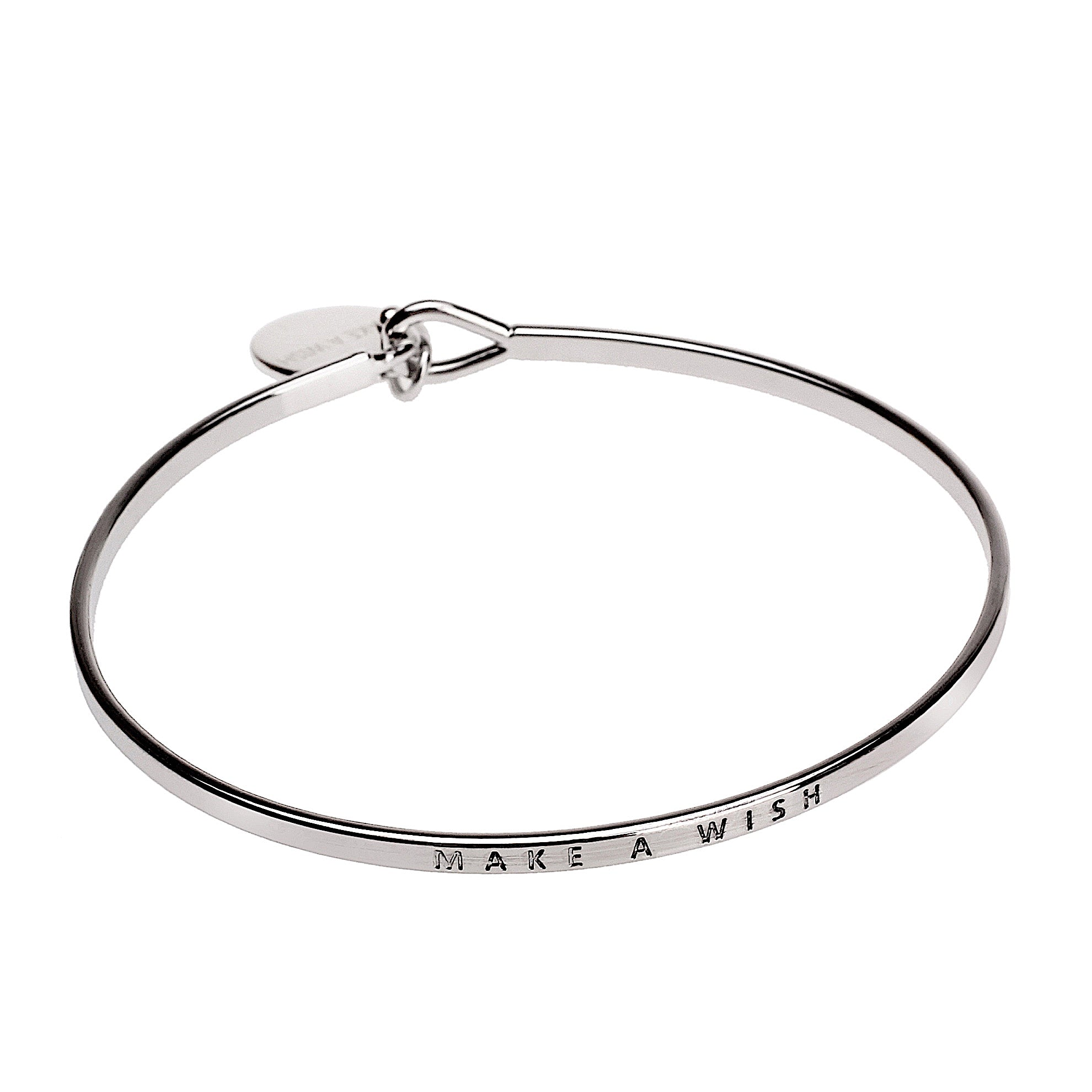 Make a Wish Sentiment Disc Bangle - Silver | More Than Just at Gift | Narborough Hall