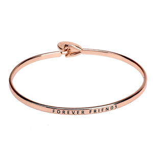 Forever Friends Sentiment Disc Copper Bangle - Rose Gold