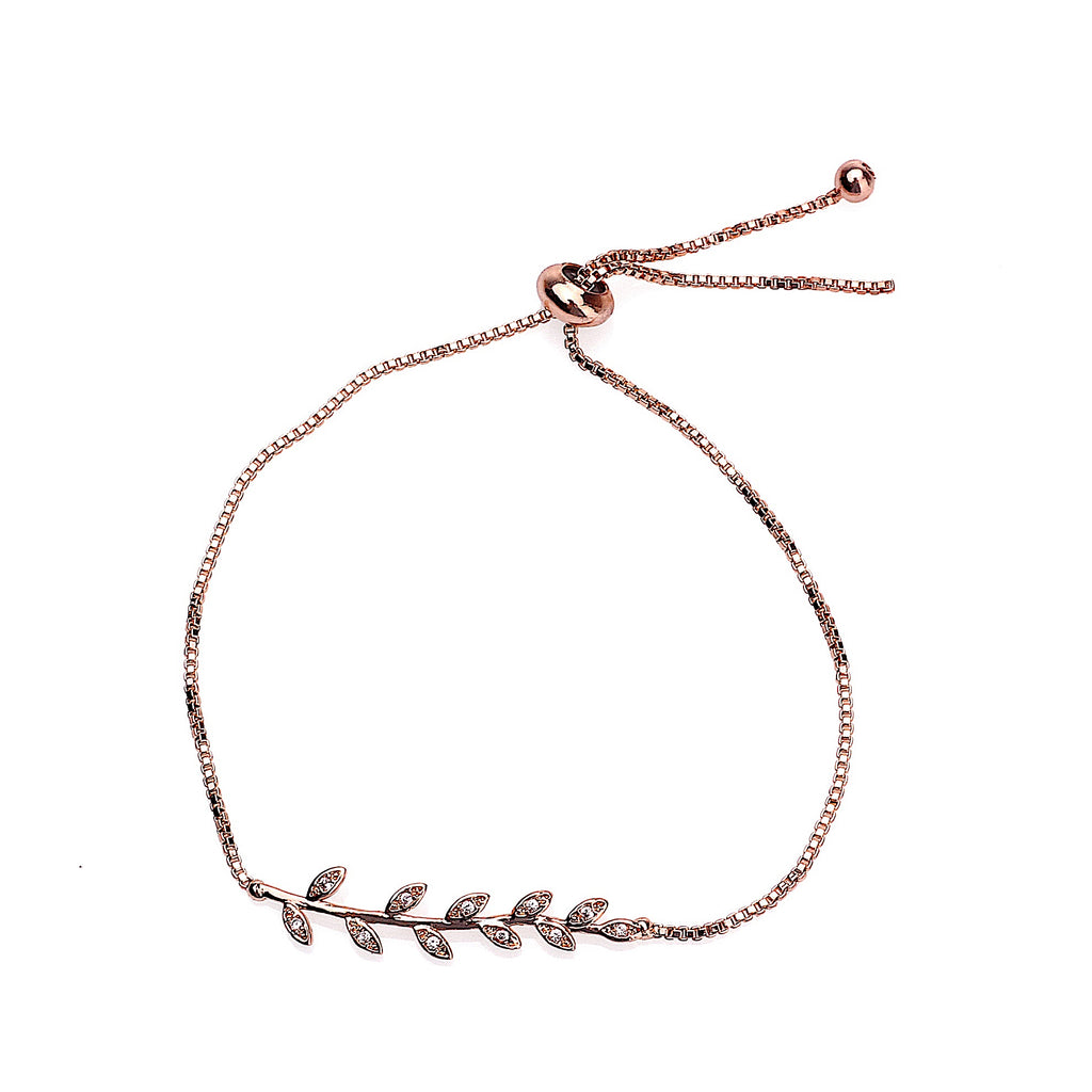 Zircon Inlaid Branch & Leaves Bracelet-Rose Gold | More Than Just at Gift | Narborough Hall