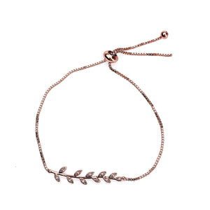 Zircon Inlaid Branch & Leaves Bracelet-Rose Gold