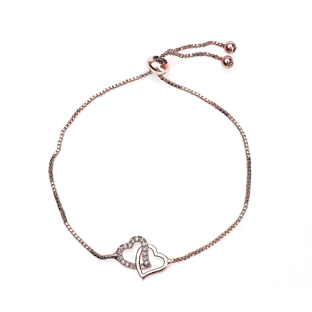 Zircon Inlaid Hearts Bracelet - Rose Gold | More Than Just at Gift | Narborough Hall