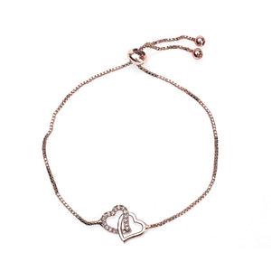 Zircon Inlaid Hearts Bracelet - Rose Gold