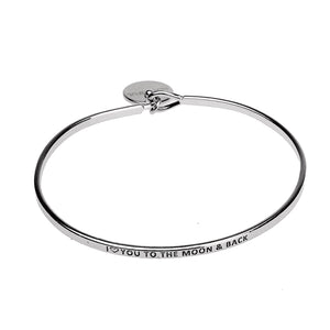 I Love You to The Moon and Back Copper Bangle - Silver