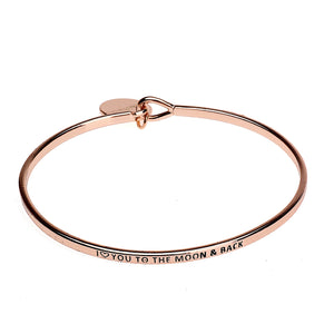 I Love You to The Moon and Back Copper Bangle - Rose Gold